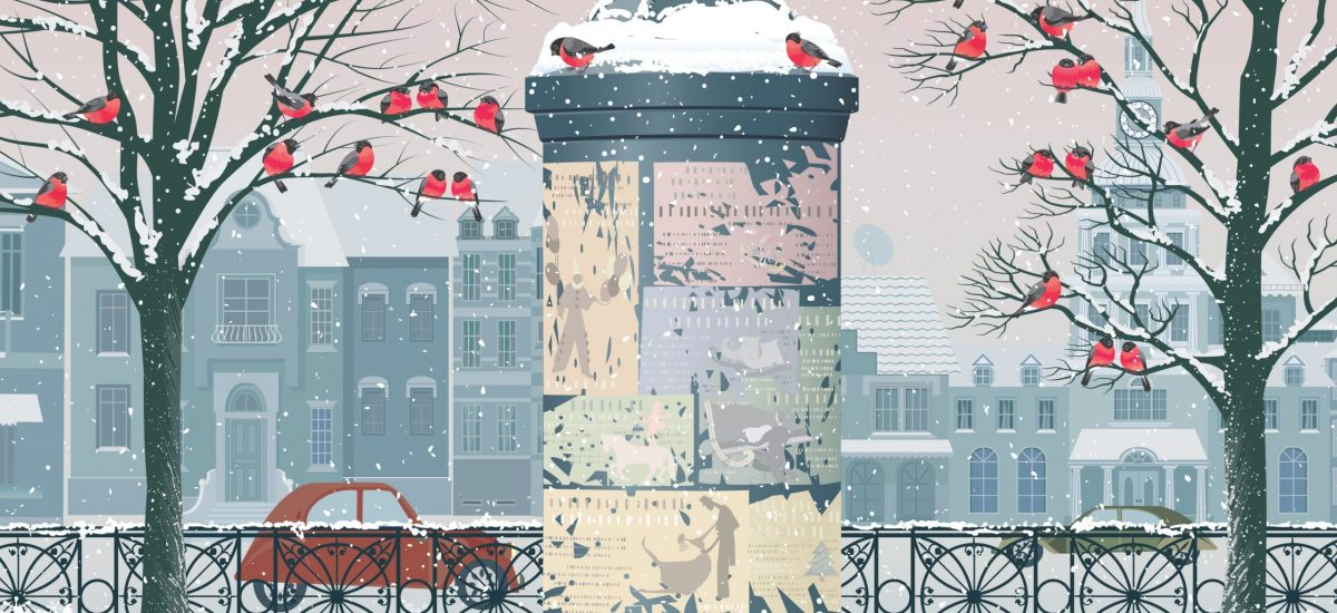 14333275 - winter cityscape with old advertising column, flocks of bullfinches perching on the trees and the houses on the background