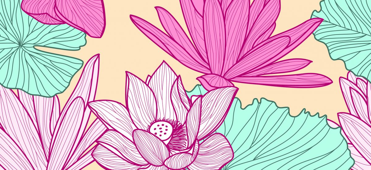 Vector seamless pattern with beautiful pink lotus flower and green leaves. Floral illustration background.