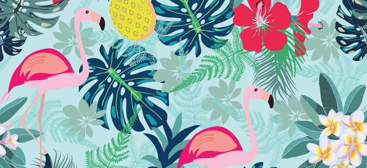 90040598 - seamless decorative pattern with flamingo, pineapple, toucan and monstera leaves. tropical plants illustration with fruits and exotic bird.fashion design for textile, wallpaper, fabric.